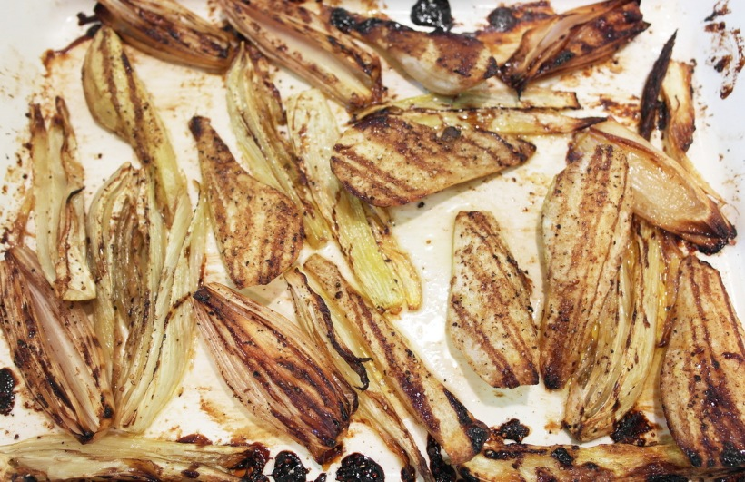 Baked fennel, onion pear & pumpkin tart