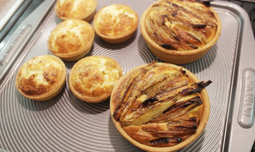 Baked fennel, onion pear tart